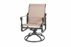 The Grandville Collection Commercial Cast Aluminum Sling Standard Back Swivel Dining Chair