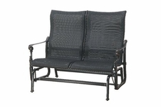 The Grandville Collection Commercial Wicker High Back Loveseat Glider