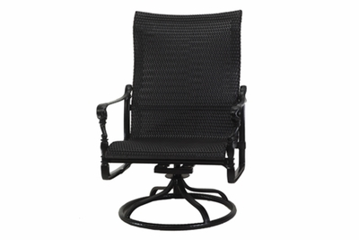 The Grandville Collection Commercial Wicker High Back Swivel Rocker Club Chair