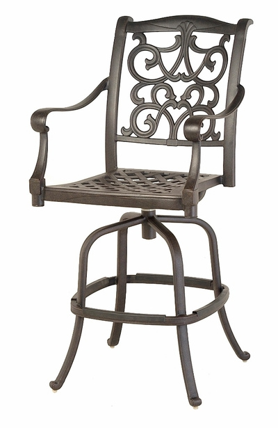 The Grayson Collection Commercial Cast Aluminum Swivel Bar Height Chair