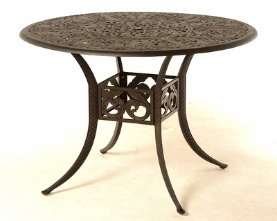"""The Harbor Collection Commercial Cast Aluminum 54"""" Round Counter Height Table With Inlaid Lazy Susan"""