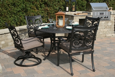 �The Herve Collection 4-Person All Welded Cast Aluminum Patio Furniture Dining Set