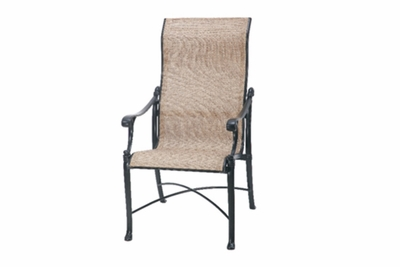 The Montego Collection Commercial Cast Aluminum Sling High Back Stationary Dining Chair