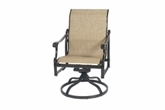 The Montego Collection Commercial Cast Aluminum Sling Standard Back Swivel Dining Chair
