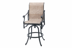 The Montego Collection Commercial Cast Aluminum Sling Swivel Bar Height Chair