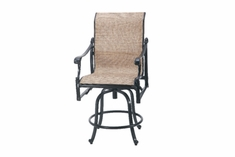 The Montego Collection Commercial Cast Aluminum Sling Swivel Counter Height Chair