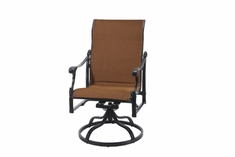 The Montego Collection Commercial Padded Sling Standard Back Swivel Dining Chair