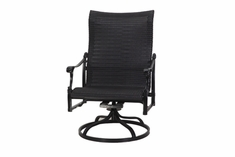 The Montego Collection Commercial Wicker High Back Swivel Rocker Club Chair
