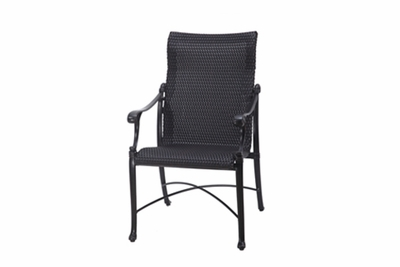 The Montego Collection Commercial Wicker Standard Back Stationary Dining Chair
