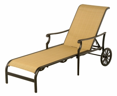 The Olivia Collection Commercial Cast Aluminum Sling Chaise Lounge