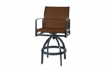The Paradise Collection Commercial Cast Aluminum Padded Sling Swivel Bar Height Chair