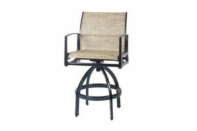 The Paradise Collection Commercial Cast Aluminum Sling Swivel Bar Height Chair