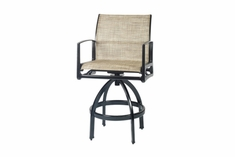 The Paradise Collection Commercial Sling Cast Aluminum Swivel Counter Height Chair