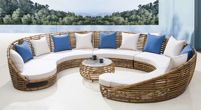 The Piazza Collection All Weather Wicker Patio Furniture Sectional