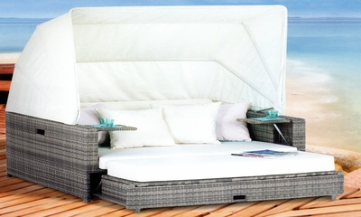 The Reyna Collection All Weather Wicker Patio Furniture Day Bed With Canopy