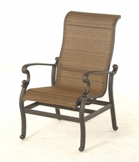 The Romana Collection Commercial Cast Aluminum Sling Stationary Spring Chair