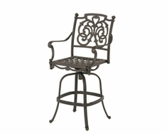The Romana Collection Commercial Cast Aluminum Swivel Bar Height Chair