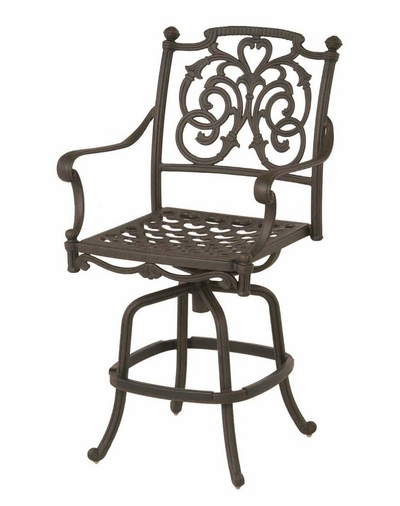 The Romana Collection Commercial Cast Aluminum Swivel Counter Height Chair