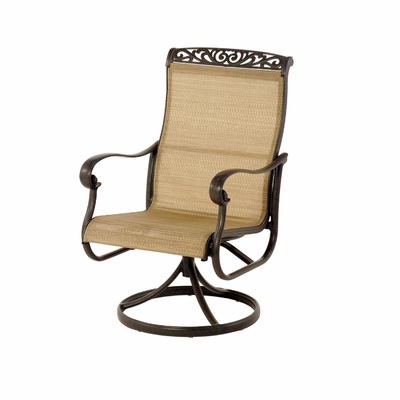 The Talbot Collection Commercial Cast Aluminum Sling Swivel Dining Chair