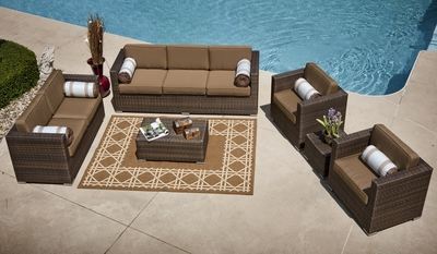The Taryn Collection 6-Piece All Weather Wicker Deep Seating Patio Furniture Set