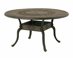 "The Tuscana Collection Commercial Cast Aluminum 54"" Round Dining Table With Inlaid Lazy Susan and Leg Base"