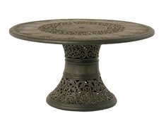 "The Tuscana Collection Commercial Cast Aluminum 54"" Round Dining Table With Inlaid Lazy Susan & Pedestal Base"