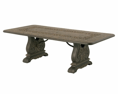 """The Tuscana Collection Commercial Cast Aluminum 90"""" Rectangle Dining Table With Trestle Base"""