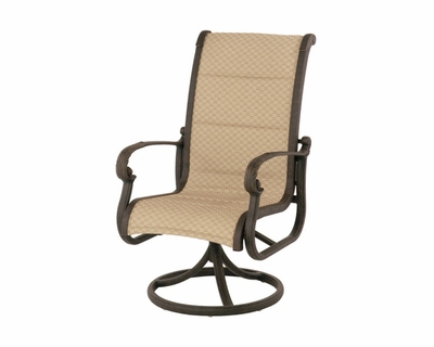 The Tuscana Collection Commercial Cast Aluminum Sling Swivel Dining Chair