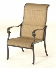 The Valencia Collection Commercial Cast Aluminum Sling Stationary Dining Chair