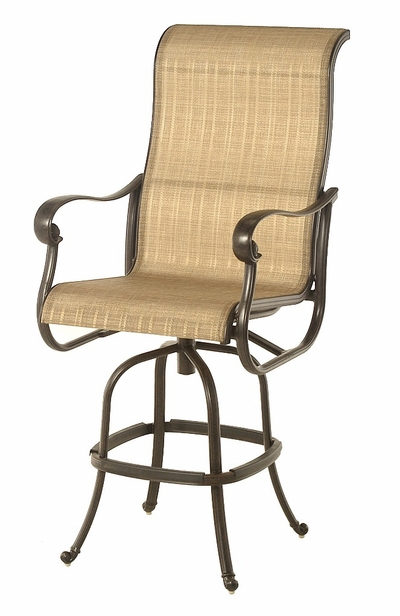 The Valencia Collection Commercial Cast Aluminum Sling Swivel Bar Height Chair
