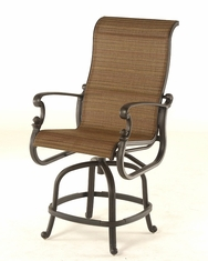 The Valencia Collection Commercial Cast Aluminum Sling Swivel Counter Height Chair