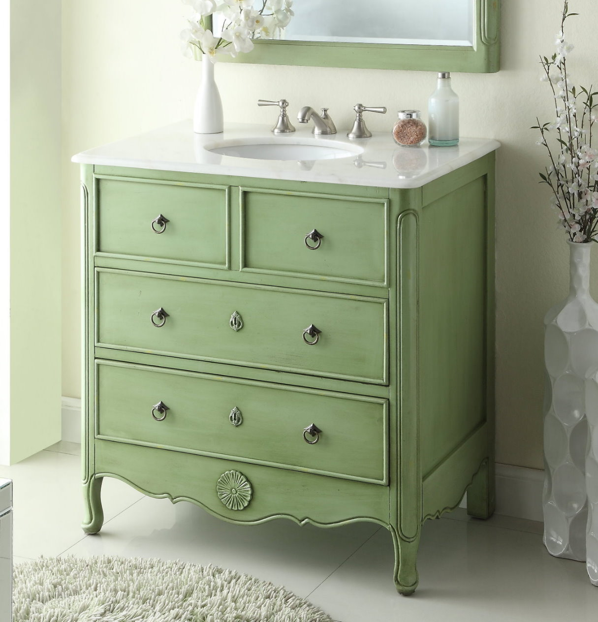 34 Inch Bathroom Vanity Cottage Beach Style Vintage Green Color 34 Wx21