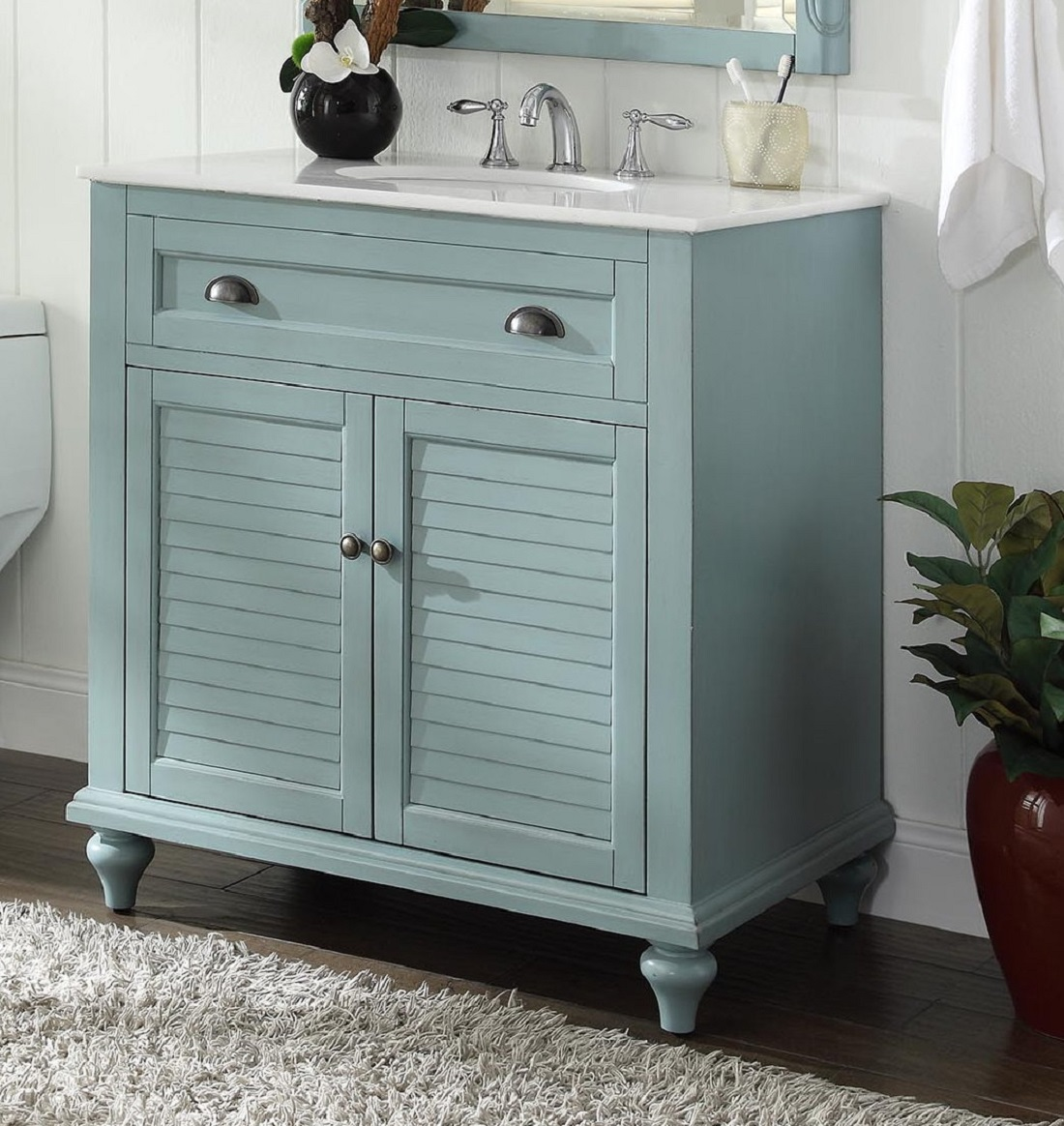 34 inch bathroom vanity cottage beach style light blue color 34 wx22