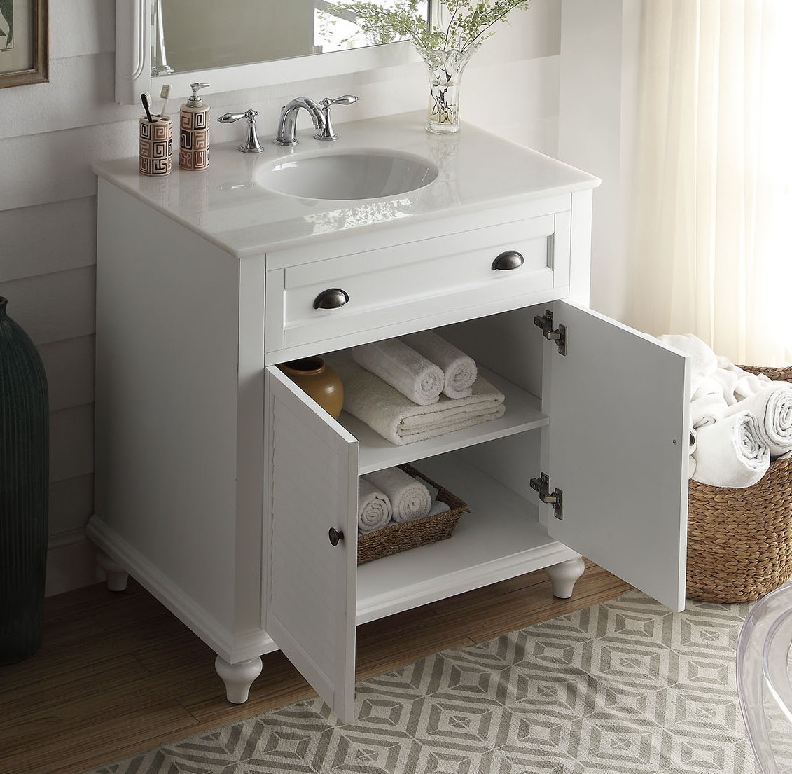 """34 Inch Bathroom Vanity Cottage Beach Style White Color (34""""Wx22""""Dx35""""H) CGD28867W34"""
