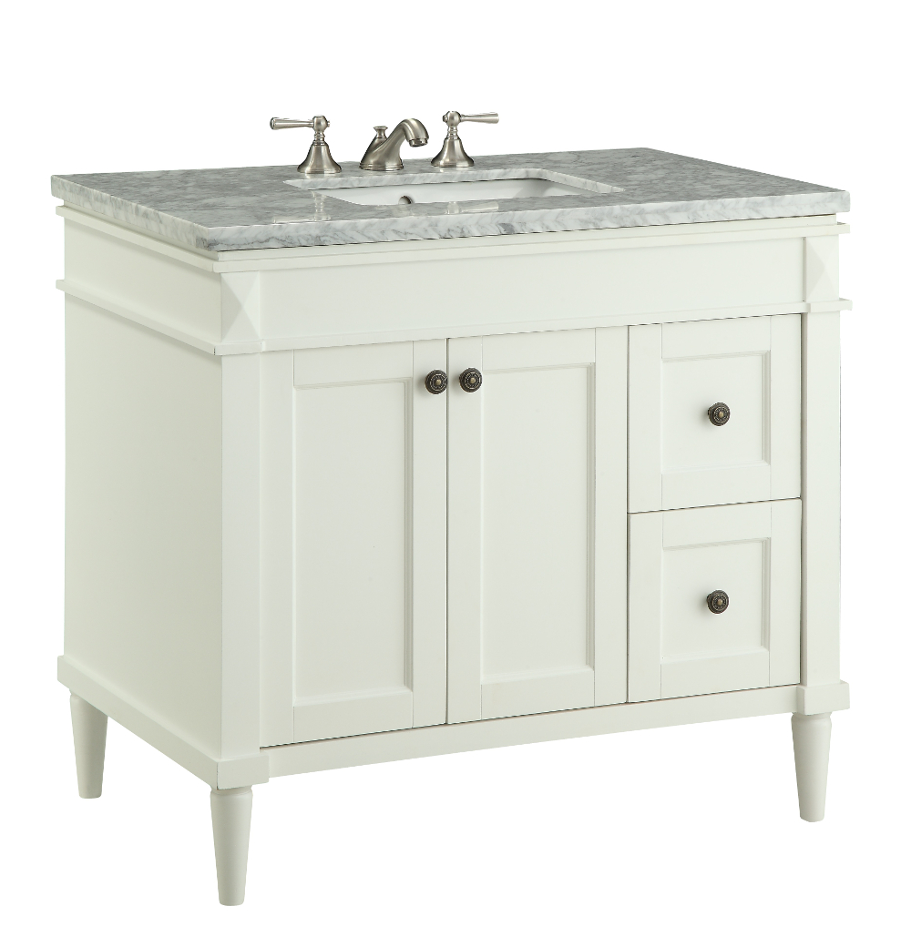 35 5 Inch Bathroom Vanity Transitional Style White Color