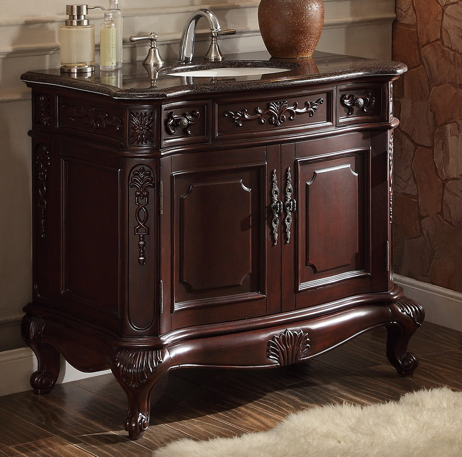 "37 inch Bathroom Vanity Rich Dark Cherry Finish (37""Wx22 ..."