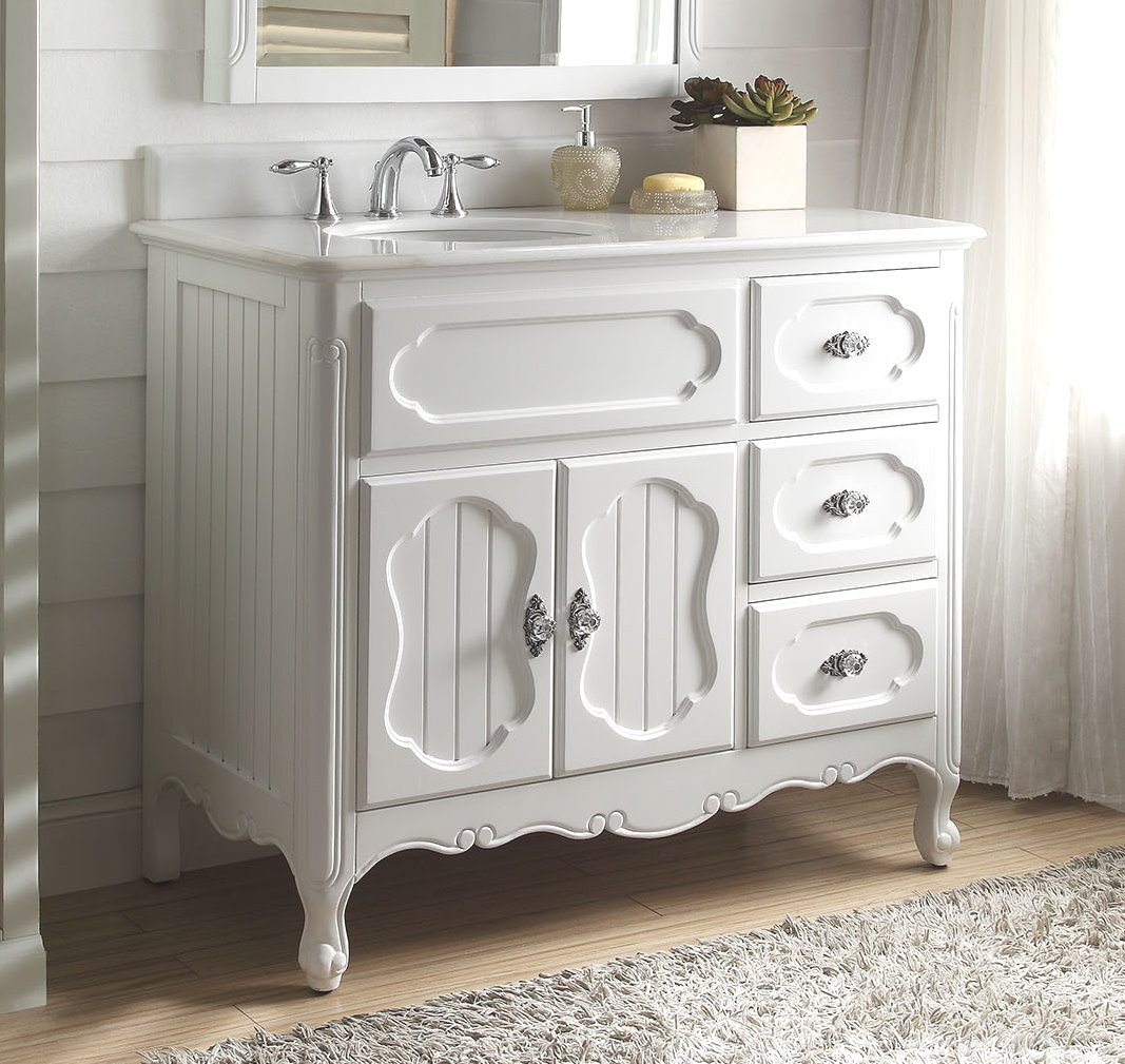 42 inch bathroom vanity cottage beadboard style white color 42 wx21