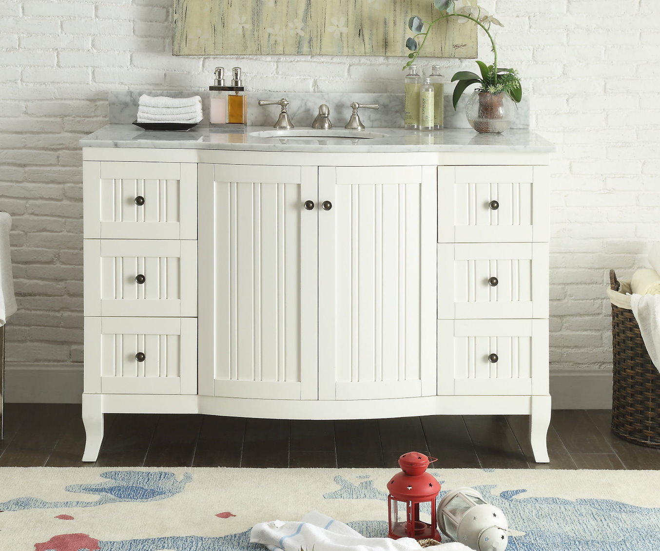 Nautical Style Bathroom Vanities: 49 Inch Bathroom Vanity Cottage Beach Style Beadboard
