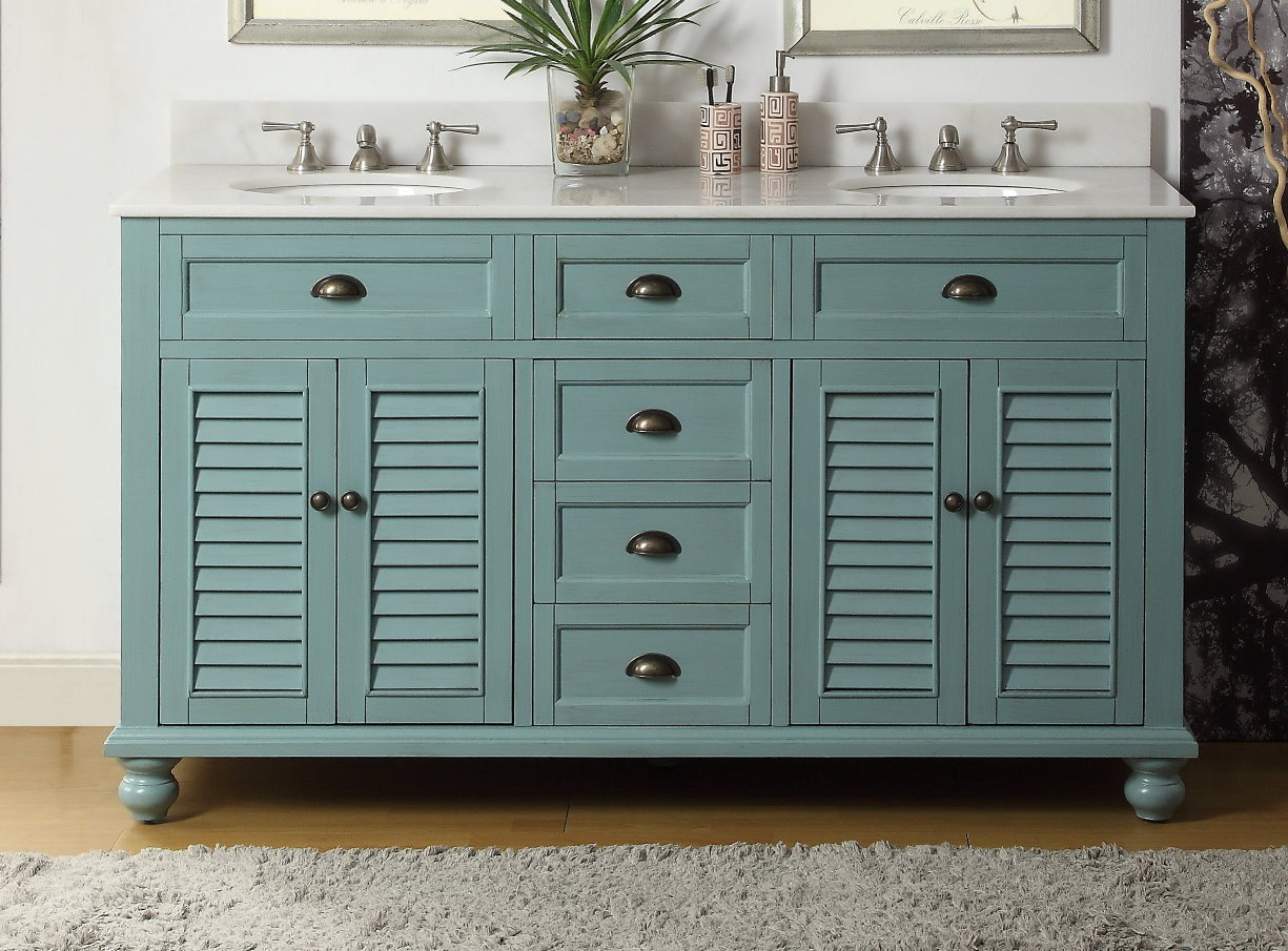 62 Inch Bathroom Vanity Coastal Cottage Beach Style Aqua Blue Color 62