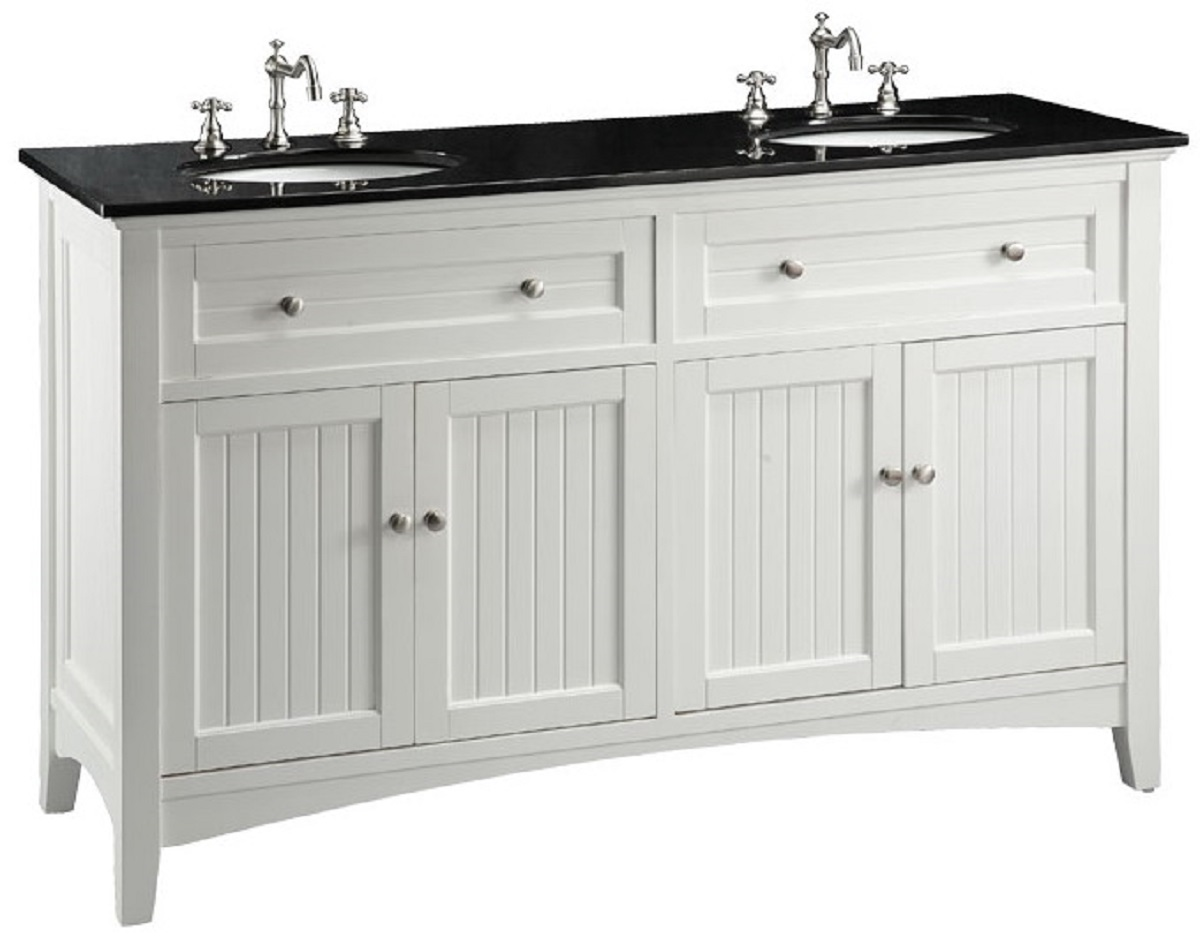 60 Inch White Beadboard Bathroom Vanity With Black Galaxy Granite Top 60 Quo