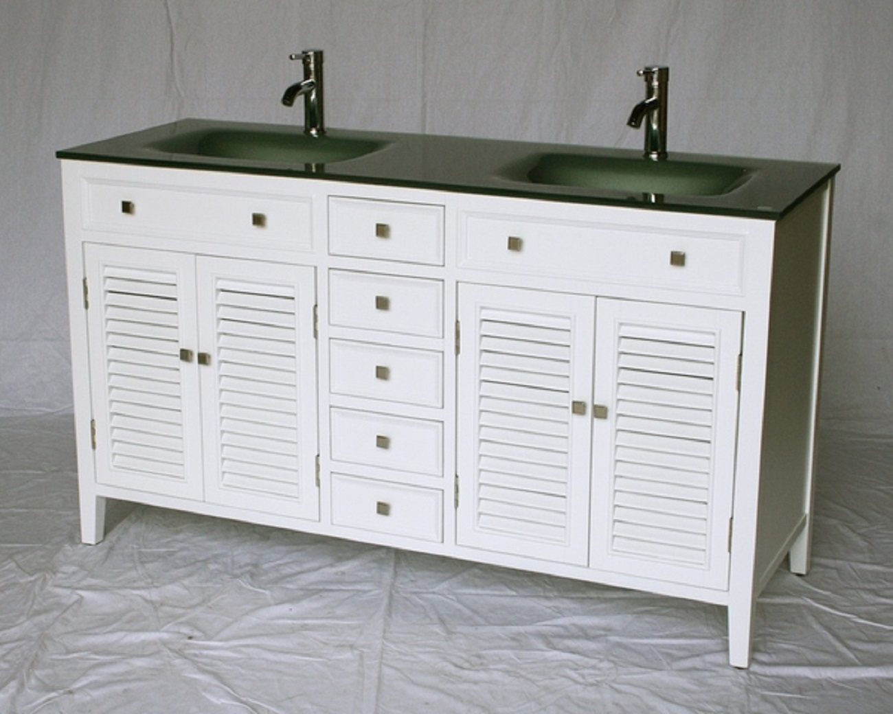 60 inch bathroom vanity cottage style white cabinet glass top