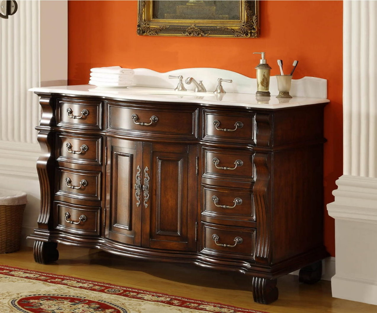 60 inch single sink bathroom vanity 8 drawers light cherry color 60