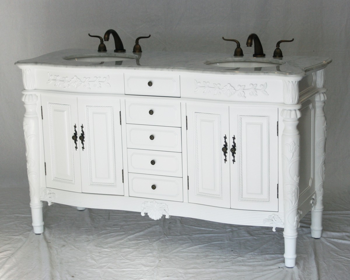 60 inch Double Sink Bathroom Vanity Antique Traditional Style Pure White Colo
