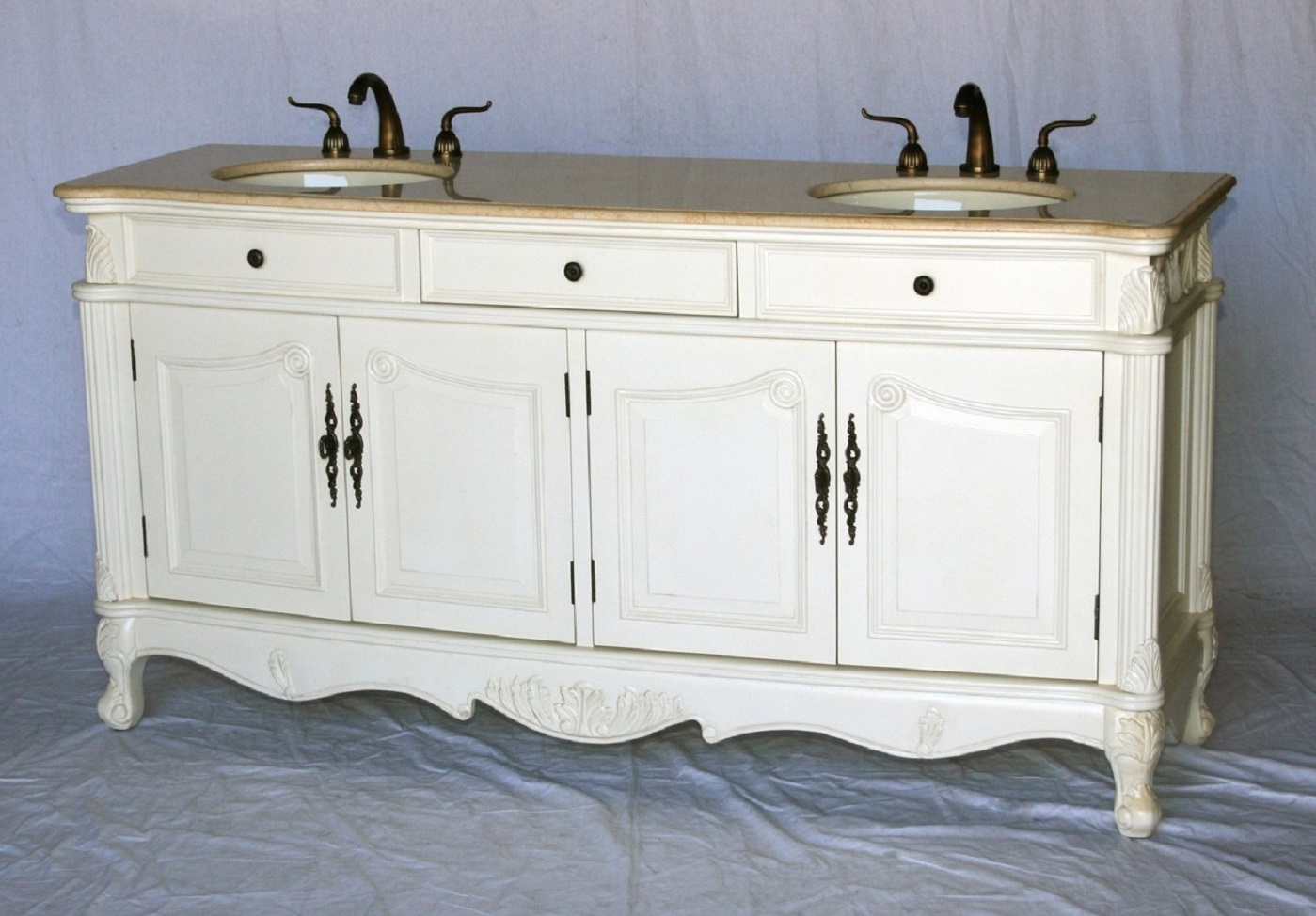 70 Inch Double Sink Antique Style Bathroom Vanity Antique White 70 Wx21