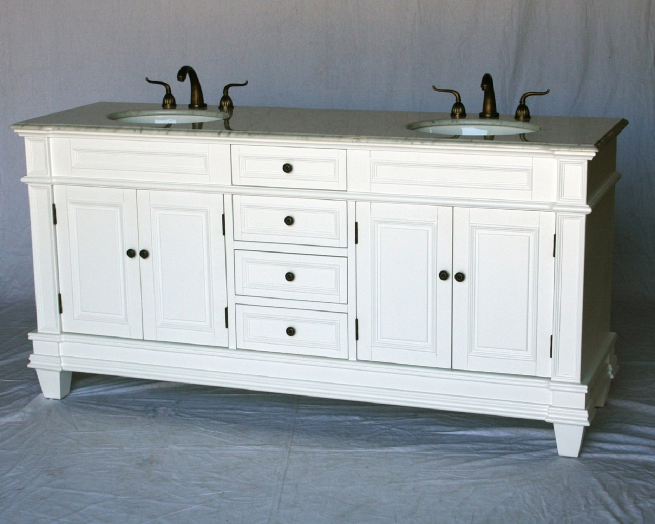 """72 inch Double Sink Transitional Bathroom Vanity White Carrara Top 72""""W"""