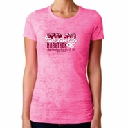 "2014 SLC Marathon & Half Marathon Women's Burnout Tee - ""Mountain Flower"" Design - Short Sleeve - Neon Pink"