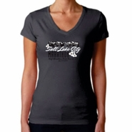 "2014 SLC Marathon & Half Marathon Women's Sporty V Tee - ""Mountain Flower"" Design - Short Sleeve - Dark Grey"