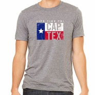 CapTex Tri: 'Flag' Men's SS Tee - Tri-Blend - Athletic Grey