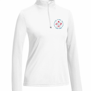 CapTex Tri: Left Chest Print Women's 1/4 Zip Pullover - Tech - White - Click to enlarge