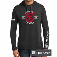 "Trinona Triathlon: ""Circle"" Design Men's LS Hoody - Fashion Pullover - Black"